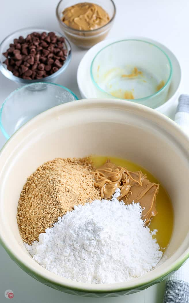 peanut butter bar ingredients in a mixing bowl