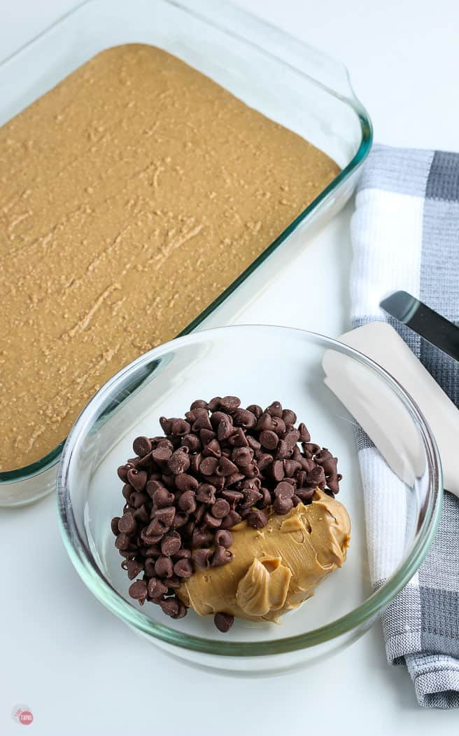 chocolate chips and peanut butter in a clear bowl