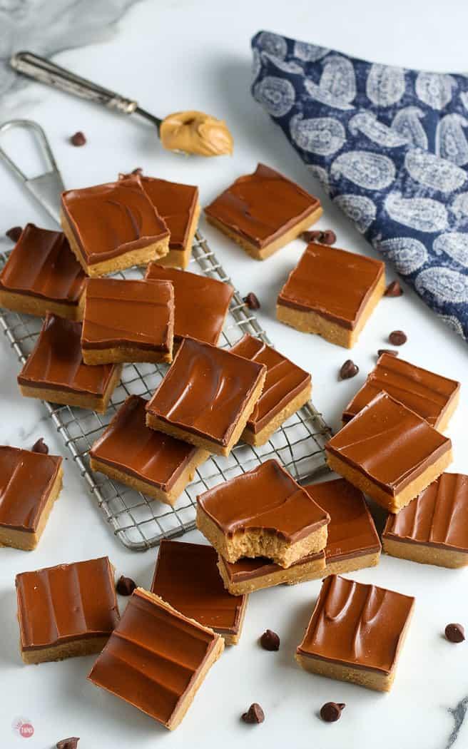 no bake peanut bars with a blue napkin