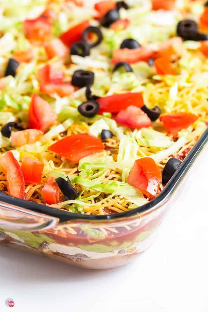 dish of 7 layer dip