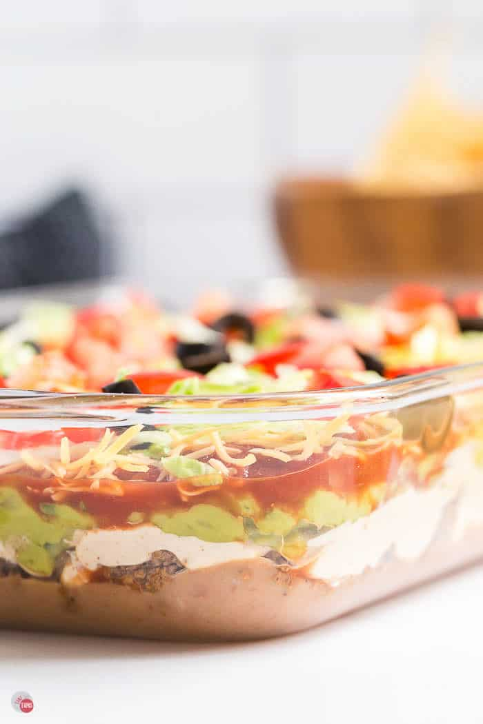 side view of layer dip in a clear dish