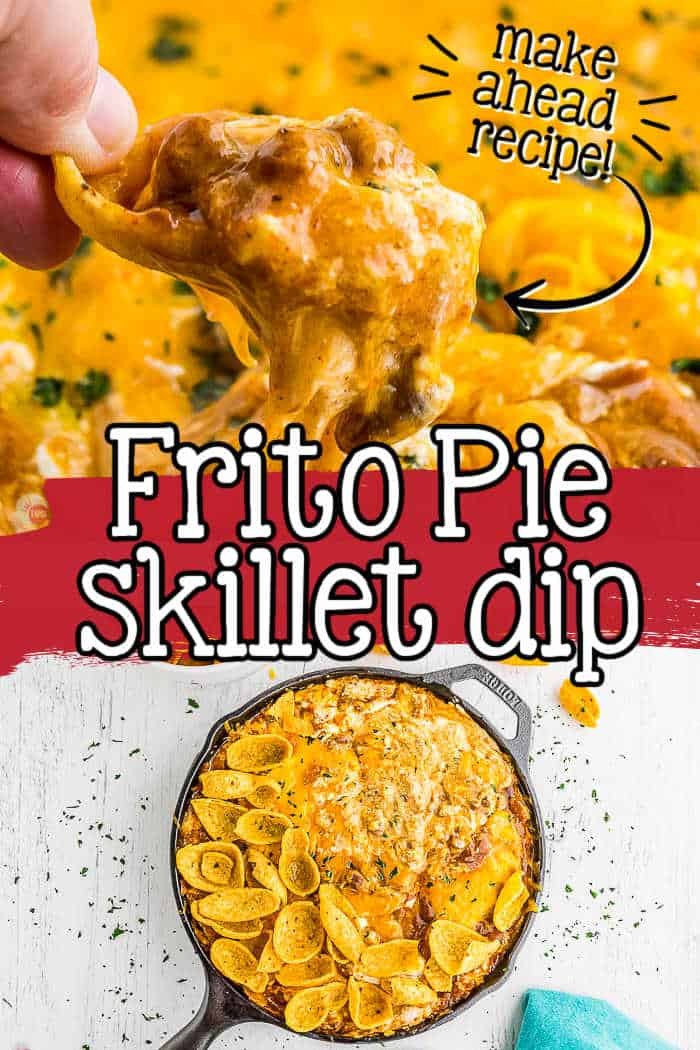 """collage of cream cheese dip with text """"frito pie skillet dip"""""""