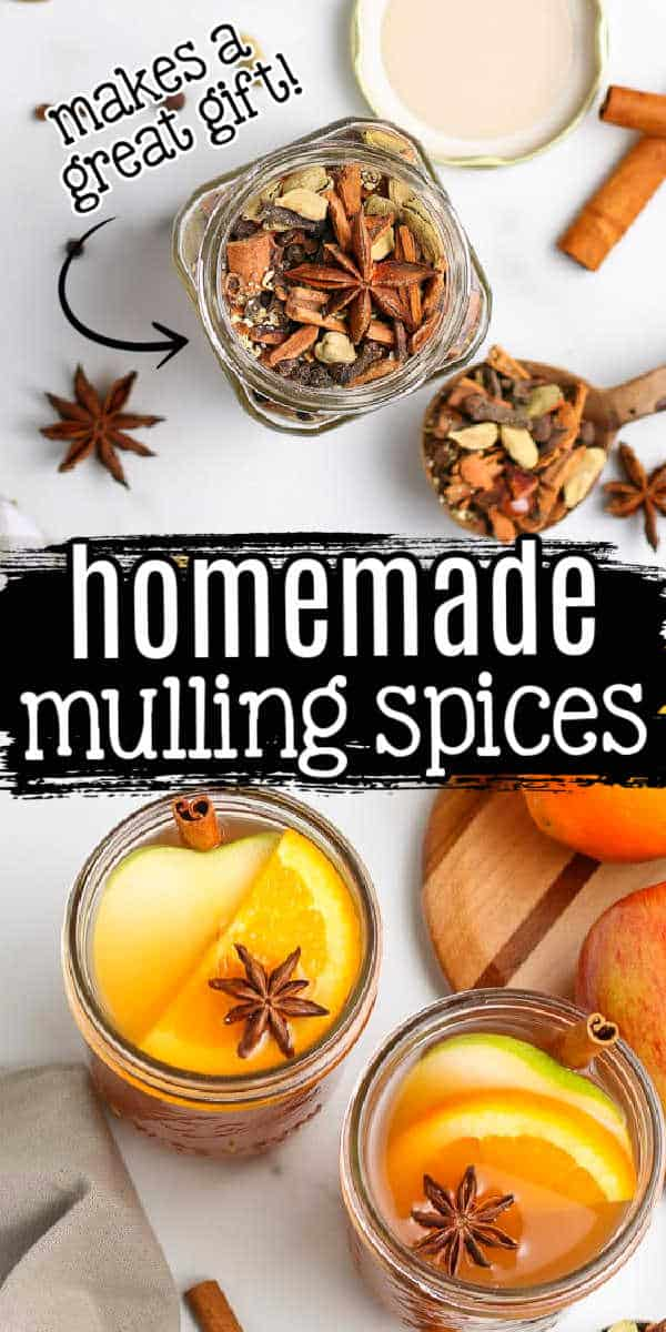 "collage of mulling spices with text ""homemade"""