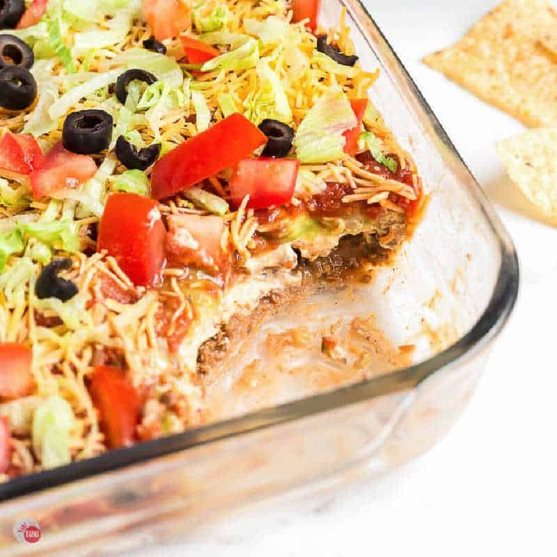 square picture of seven layer dip for recipe card