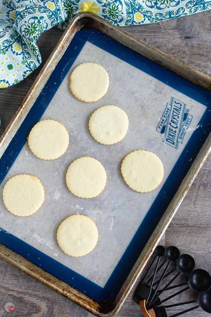 baked almond shortbread cookies on cookie sheet