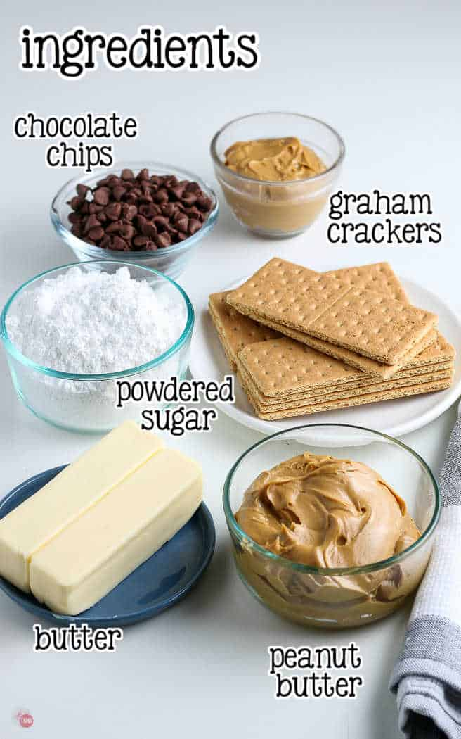 labeled picture of ingredients for peanut butter bars