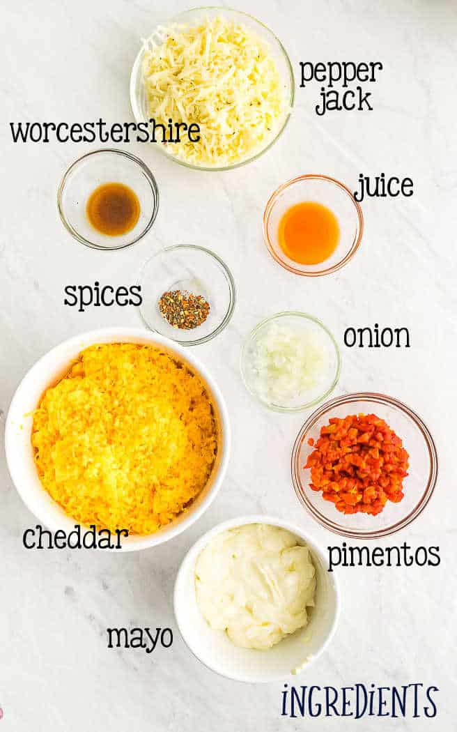 labeled picture of cheese spread ingredients