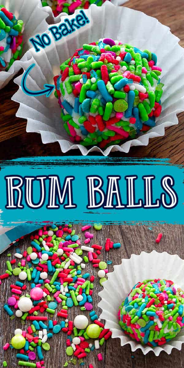 """collage of christmas candy with text """"no bake rum balls"""""""