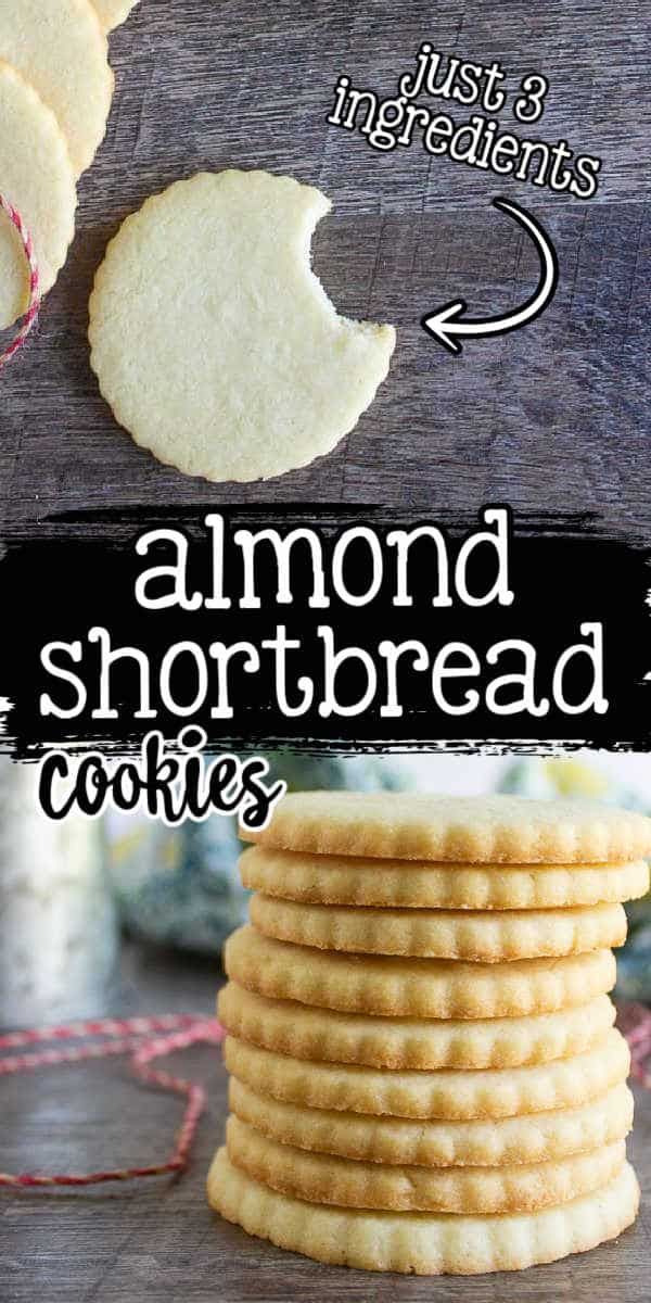 """collage of cookies with text """"almond shortbread cookies"""""""
