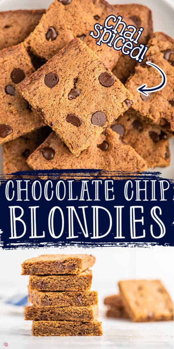 "collage of blondies with text ""chocolate chip blondies"""