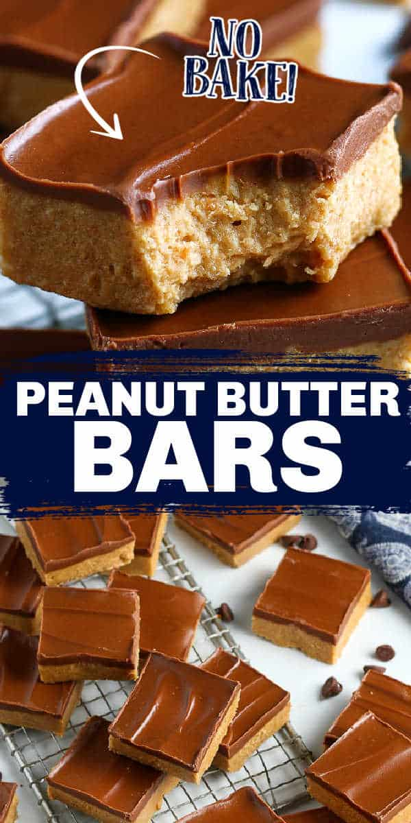 """collage of no bake bars with text """"peanut butter bars"""""""