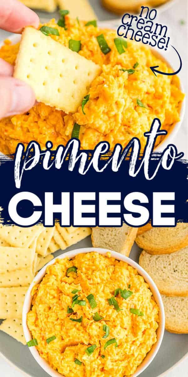 "collage of cheese spread with text ""pimento cheese"""