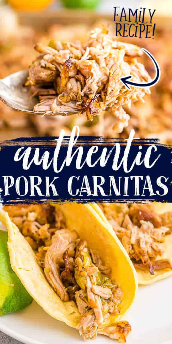"""collage of shredded pork with text """"authentic pork carnitas"""""""