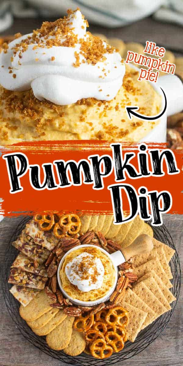 """collage of pumpkin dip with text """"like pumpkin pie"""""""