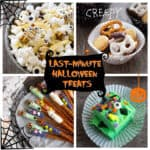 """collage of recipes with text """"last minute halloween treats"""""""