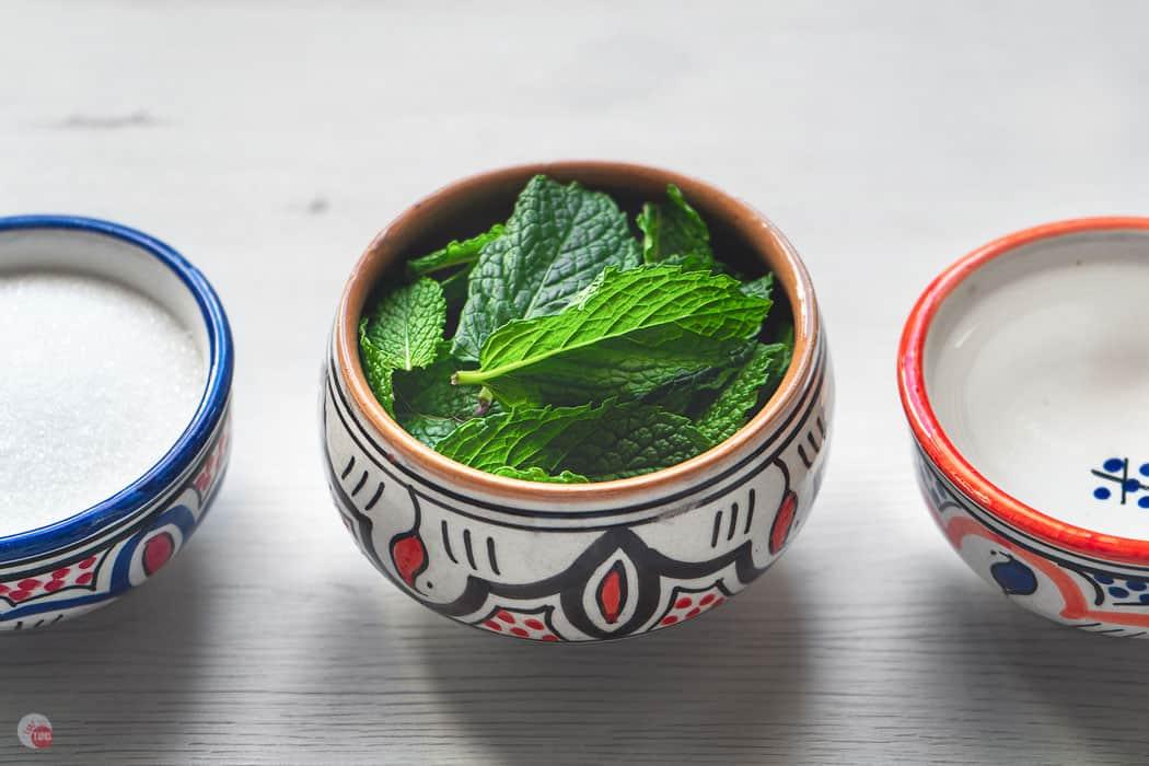 bowl of fresh mint leaves