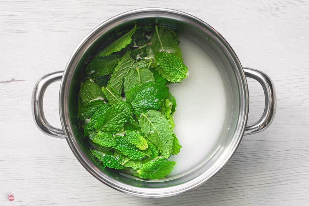mint and sugar in a pot