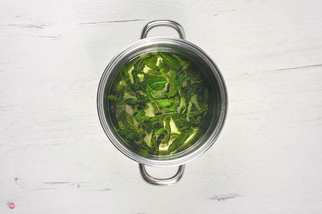 cooked sugar and mint in a pot