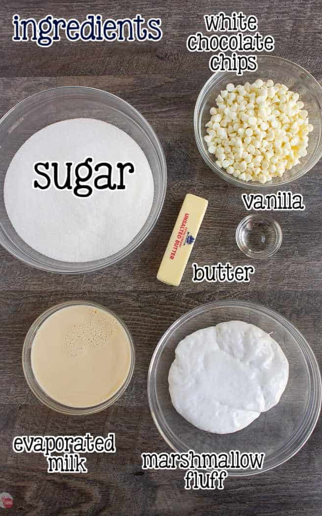 labeled picture of fudge ingredients