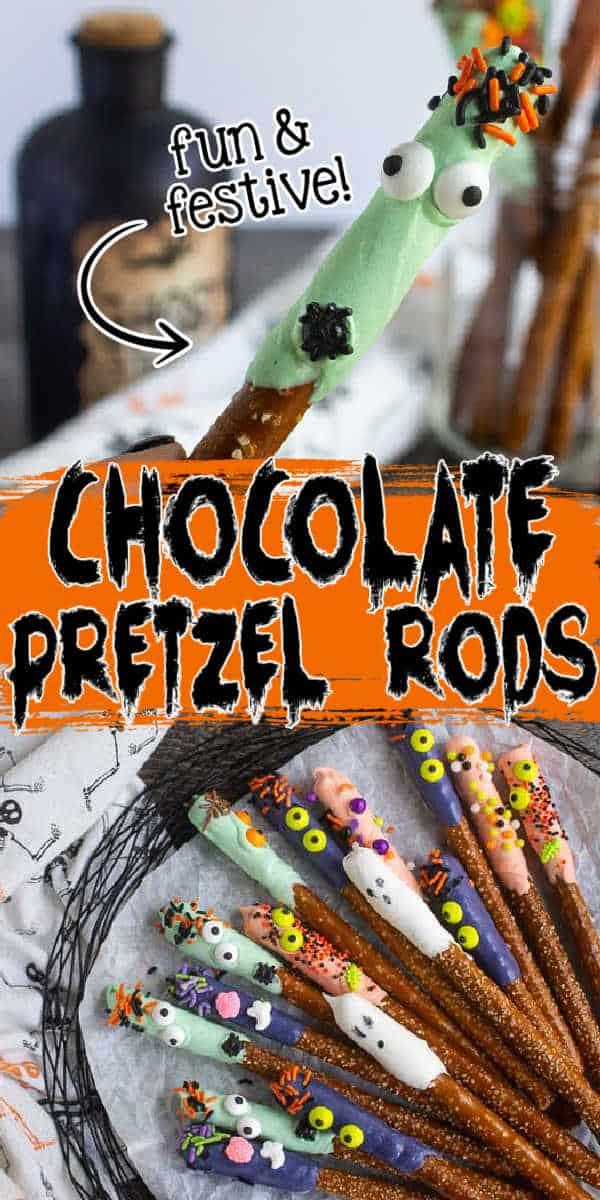 collage of halloween pretzels