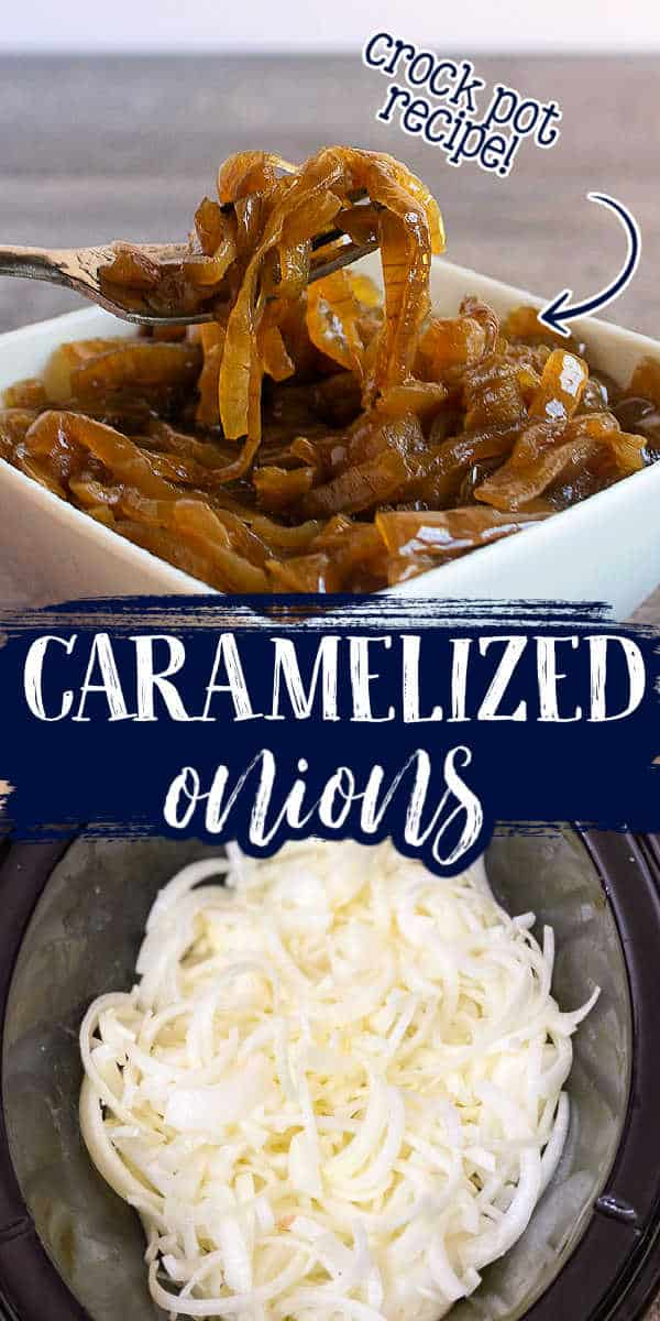"""collage of onions with text """"caramelized"""""""