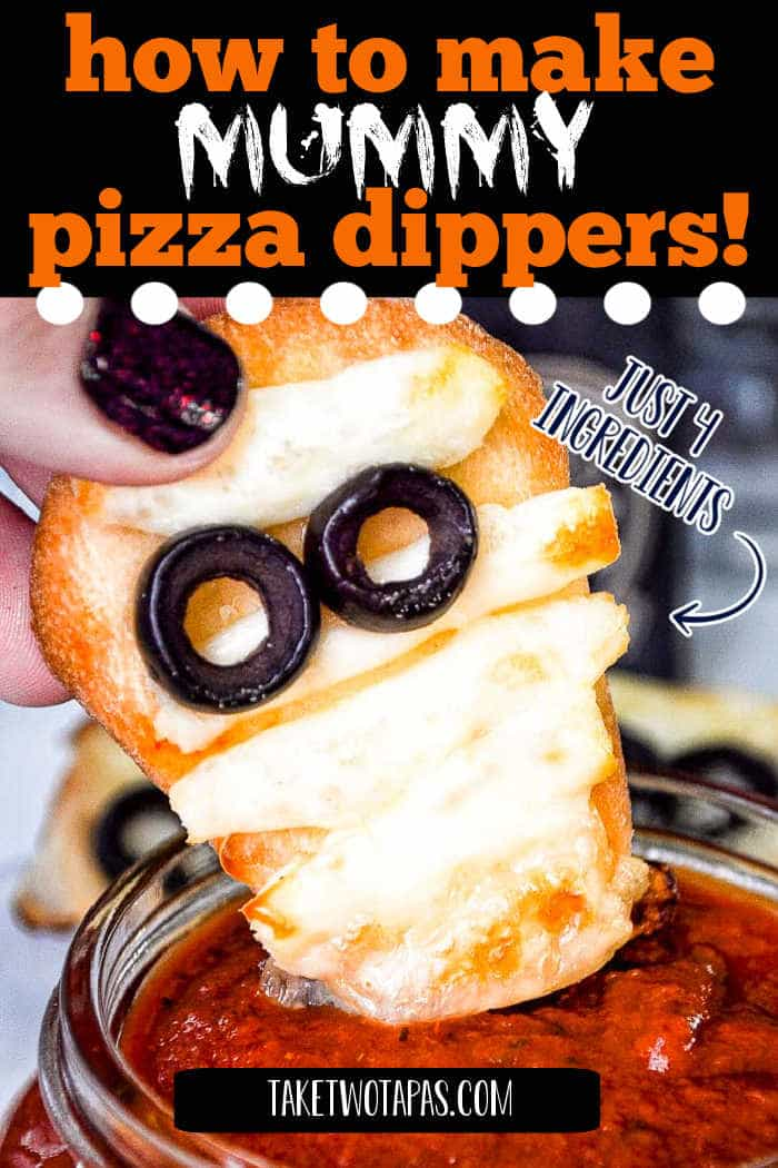 """mummy pizza dipper with text """"how to make mummy pizza dippers"""""""