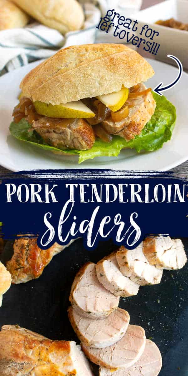 "collage of pork sliders with text ""great for leftovers"""