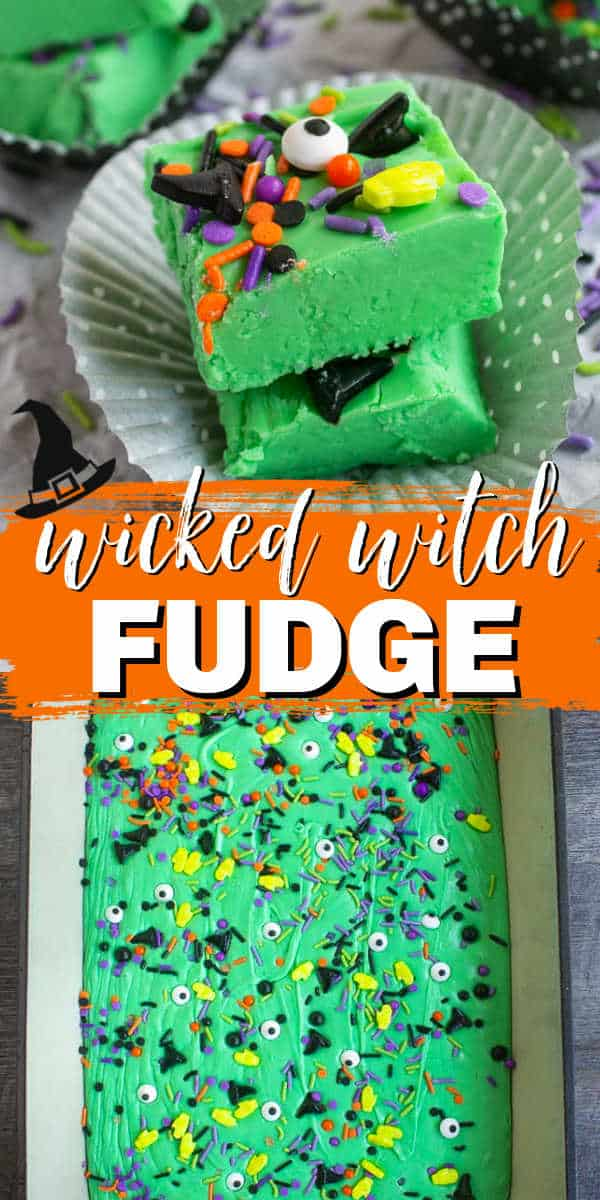 """collage of fudge with text """"wicked witch fudge"""""""