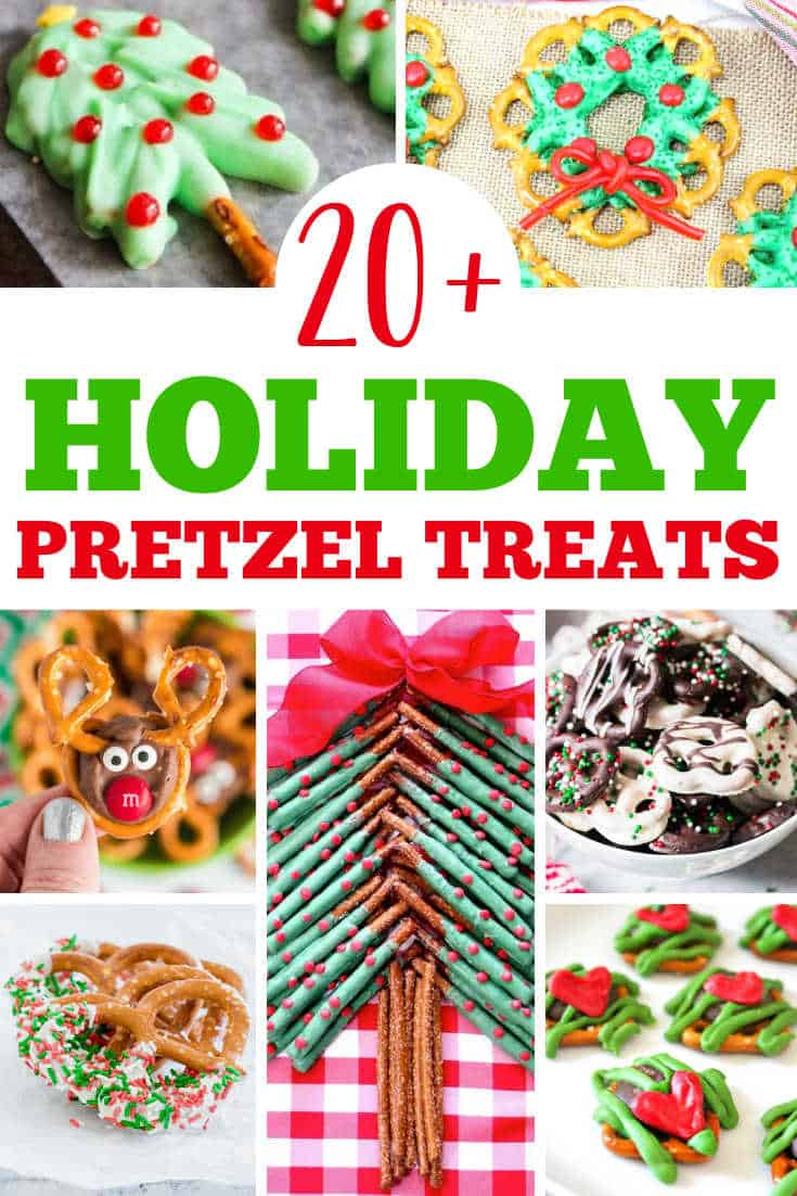 collage of christmas pretzels with text
