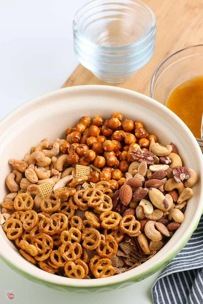 party mix ingredients in a bowl