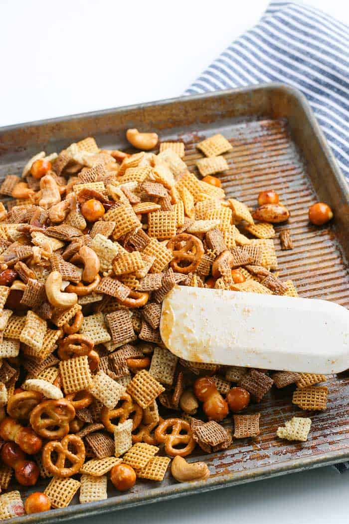 party mix on a baking sheet