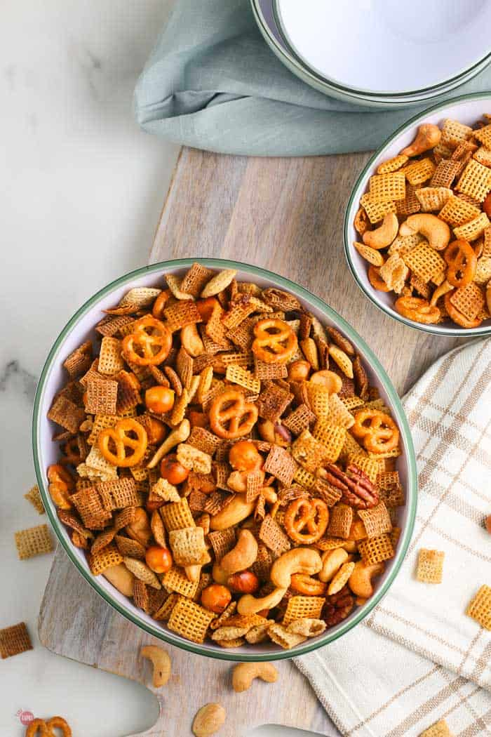 two bowls of chex mix