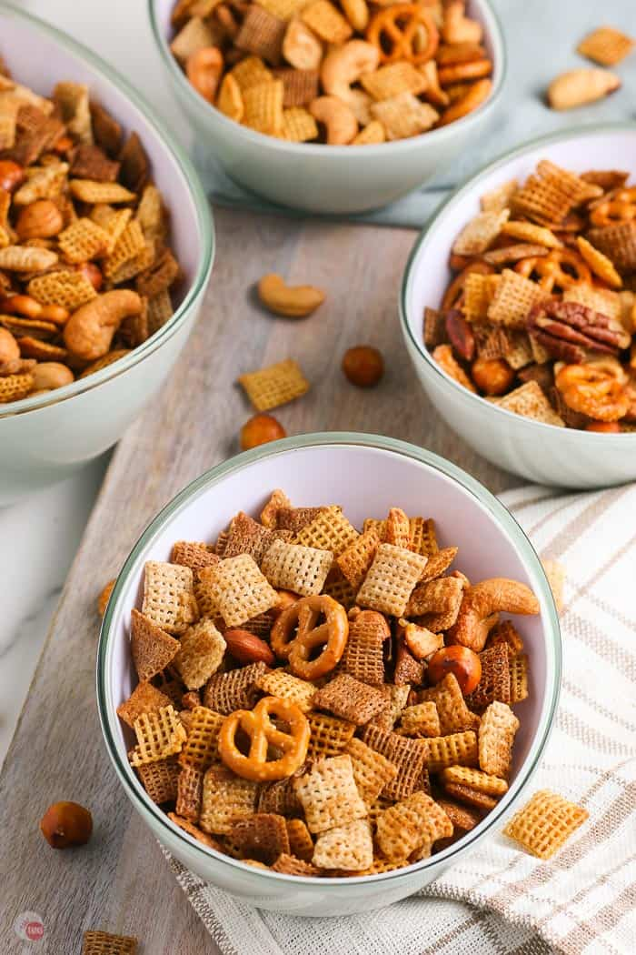 4 bowls of snack mix