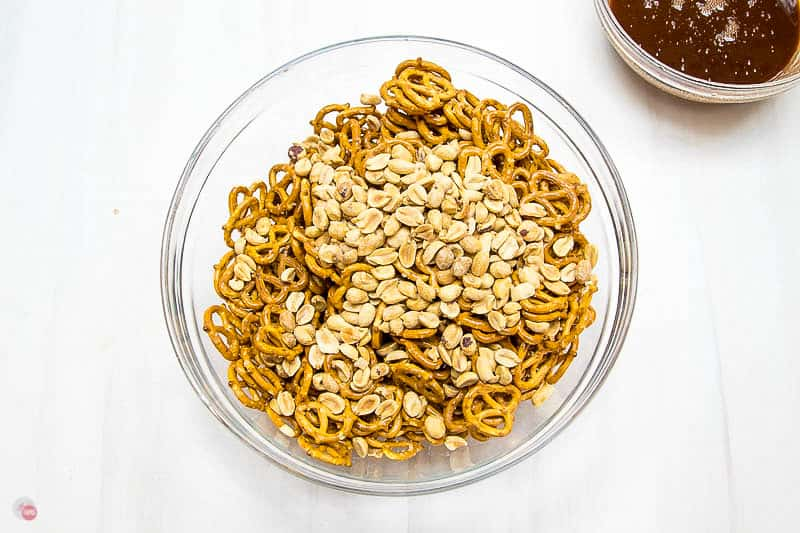 peanut and pretzels in a clear bowl