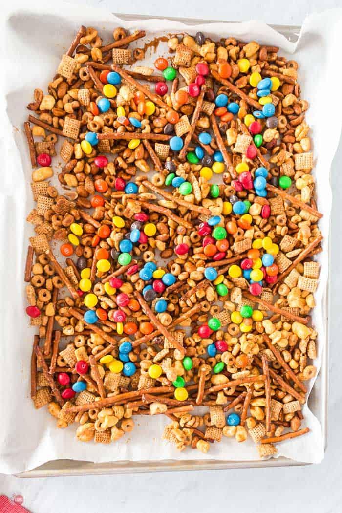 snack mix on baking sheet