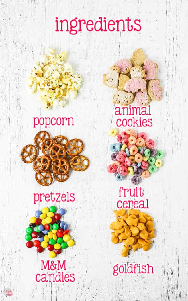 labeled picture of kids snack mix ingredients
