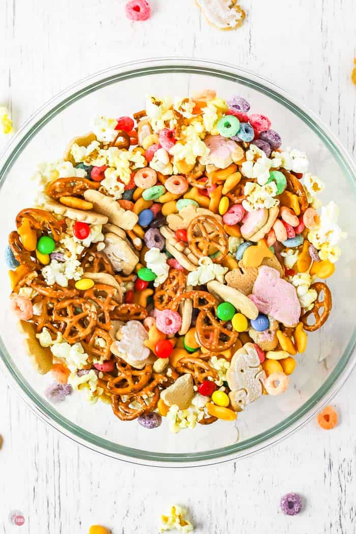snack mix in bowl