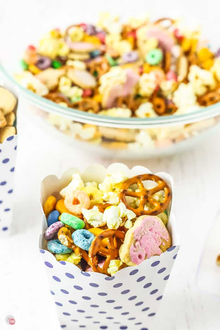 container of snack mix