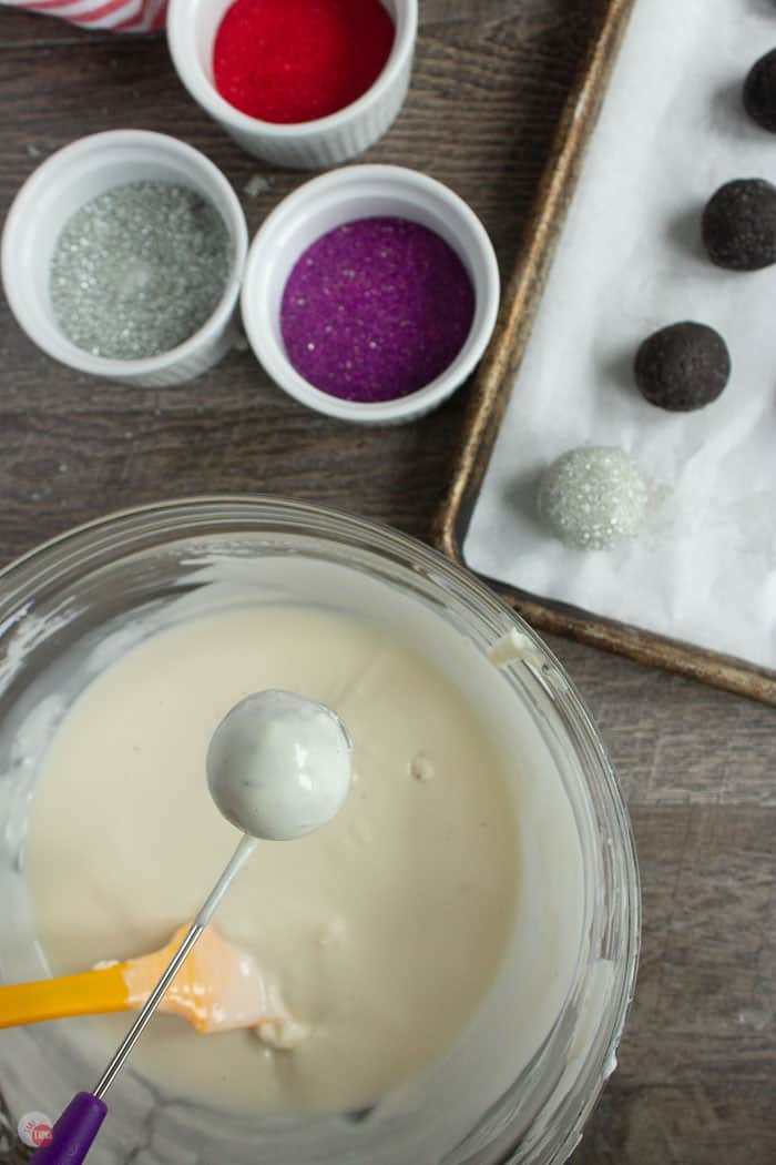 OREO truffles being dipped in white chocolate