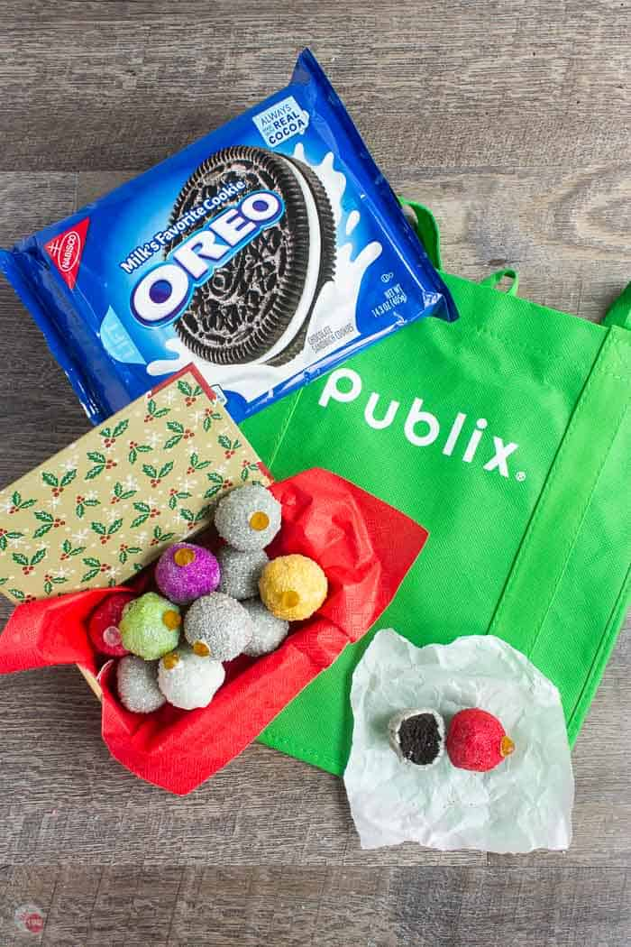 OREO cookies ornament balls on a green bag