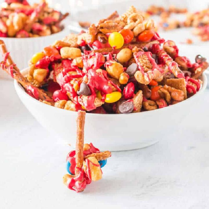 snack mix in a white bowl