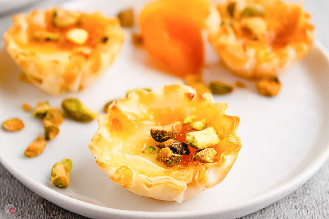 phyllo cup appetizer on white plate