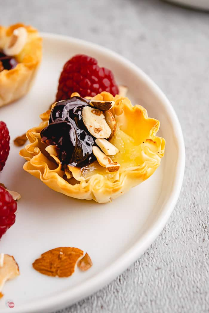 single phyllo cup on white plate