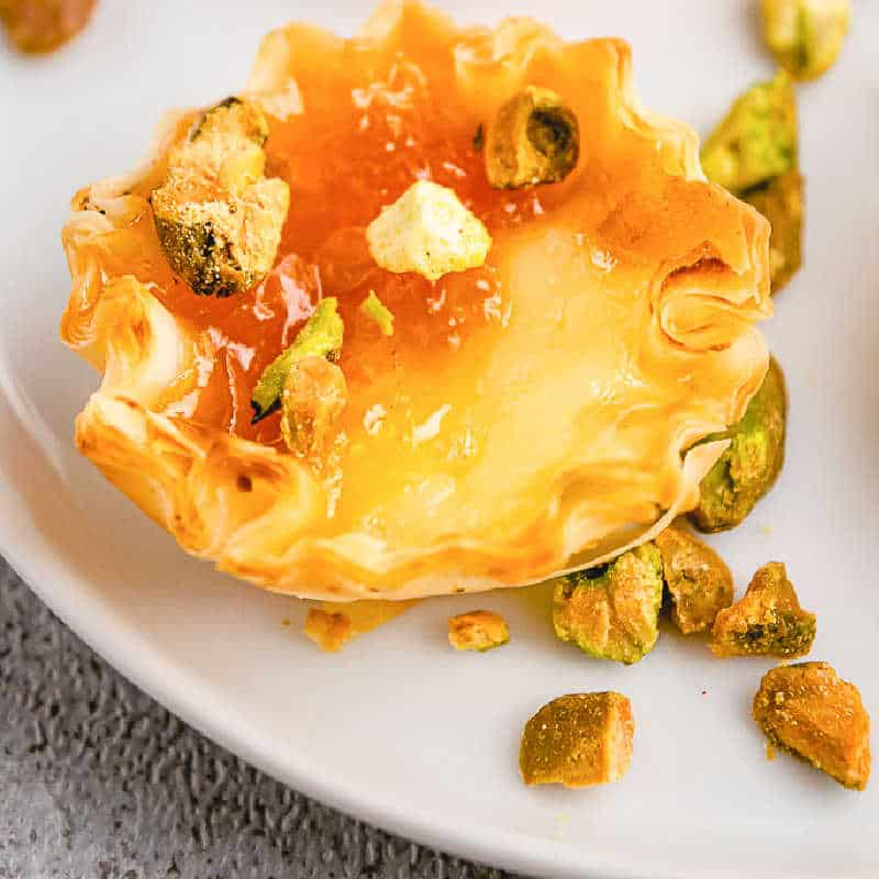 Apricot, Pistachio & Brie Phyllo Bites {3 ingredients!}