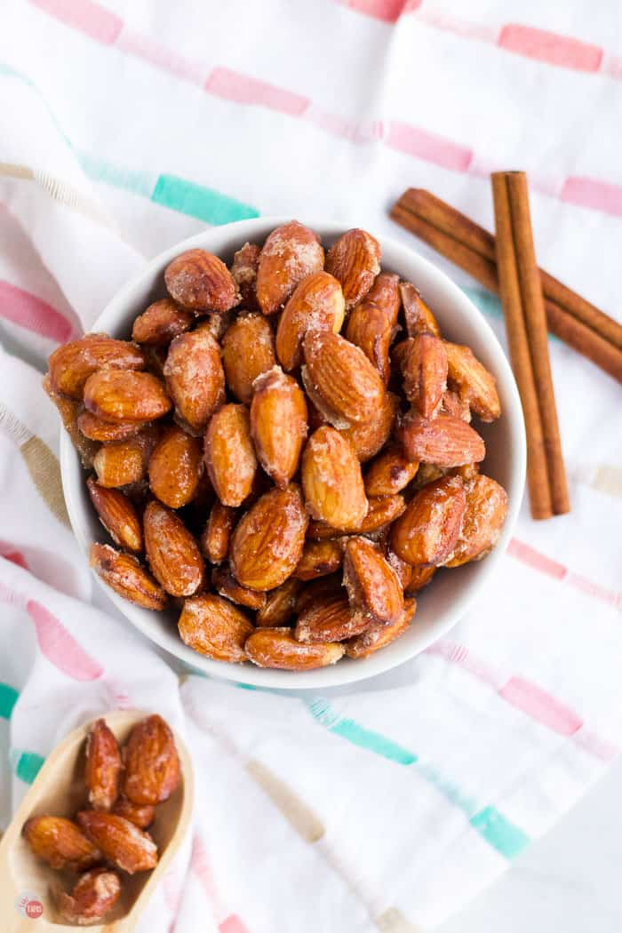 overhead glazed almonds in a bowl