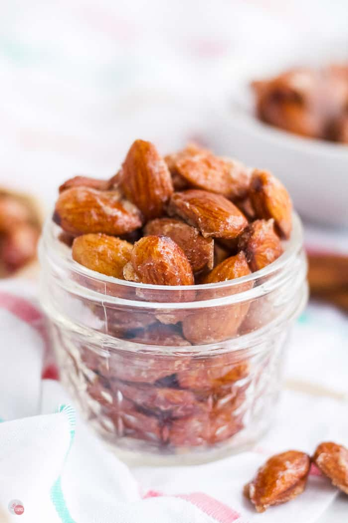candied almonds in a jar