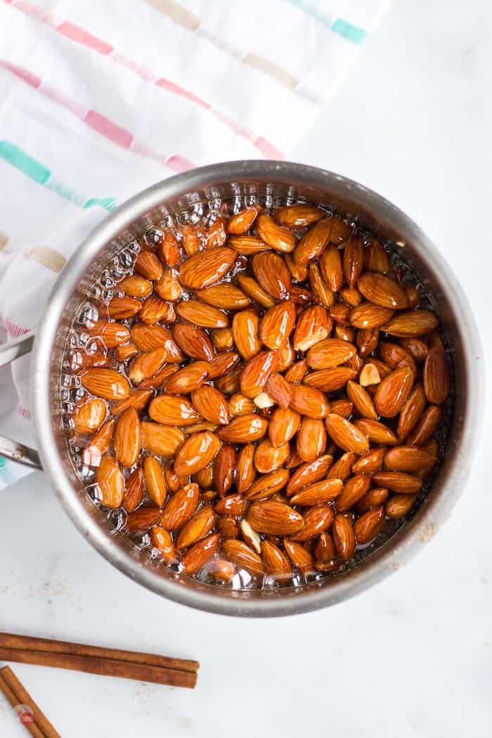 glazed almonds in a pot