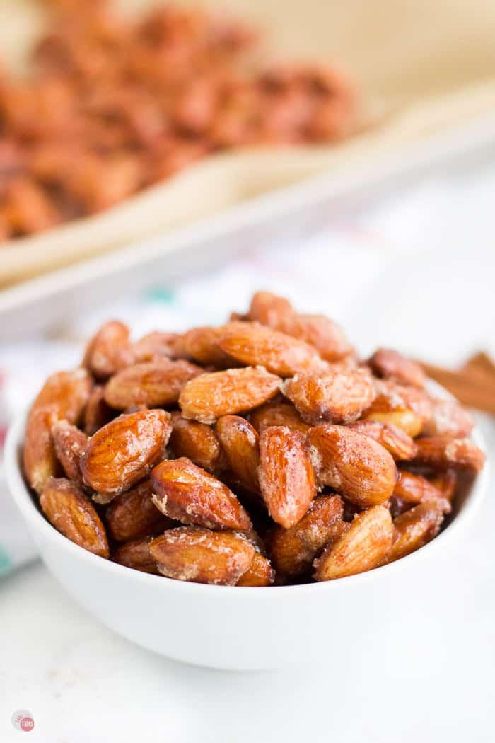 glazed almonds in a bowl