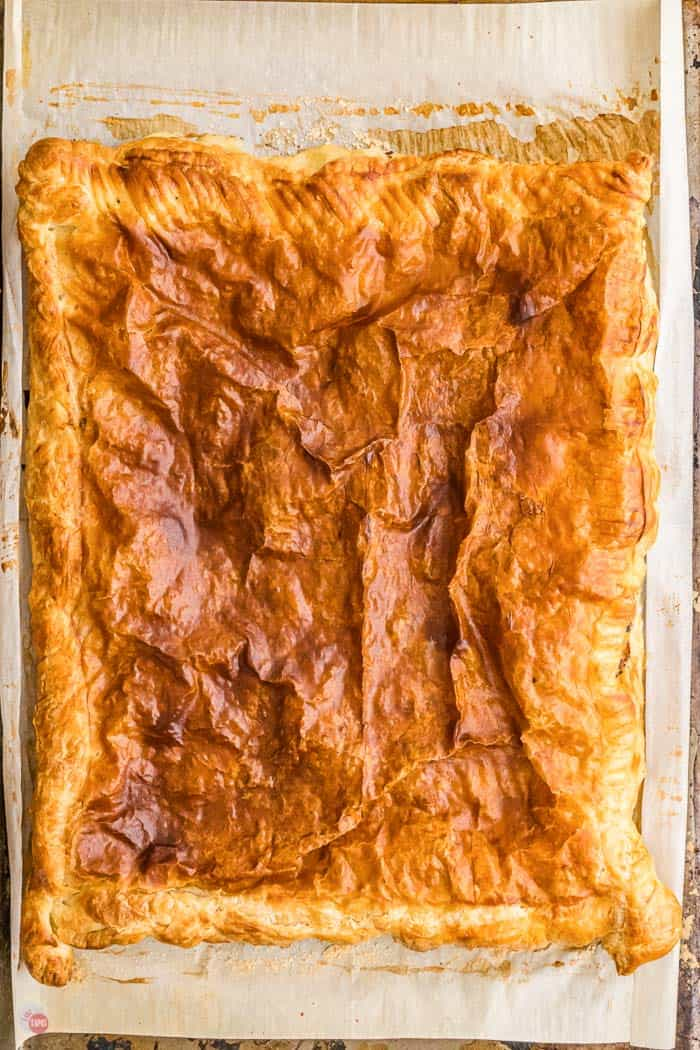 baked puff pastry on a baking sheet