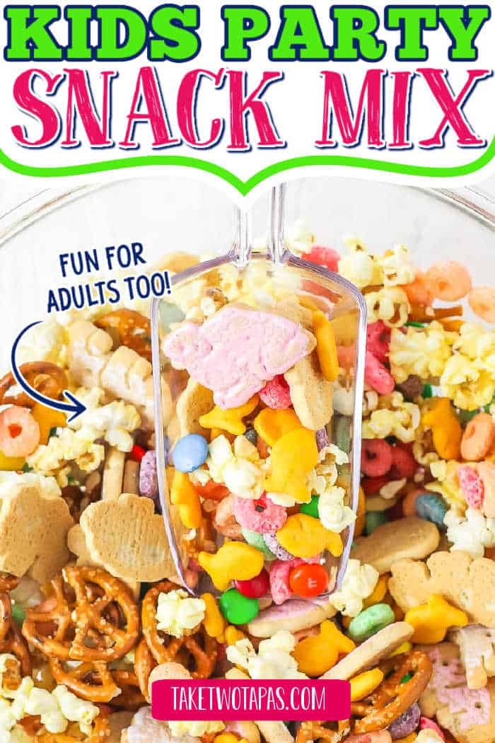"""snack mix in bowl with text """"kids party snack mix"""""""